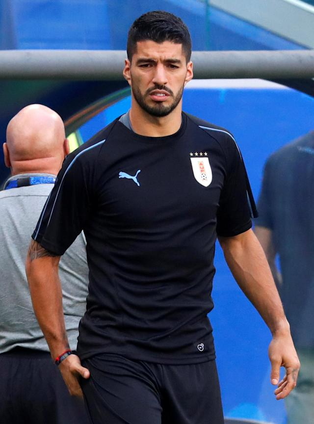 Soccer Football - World Cup - Uruguay Training - Samara Arena, Samara, Russia - June 24, 2018 Uruguay's Luis Suarez during training REUTERS/David Gray