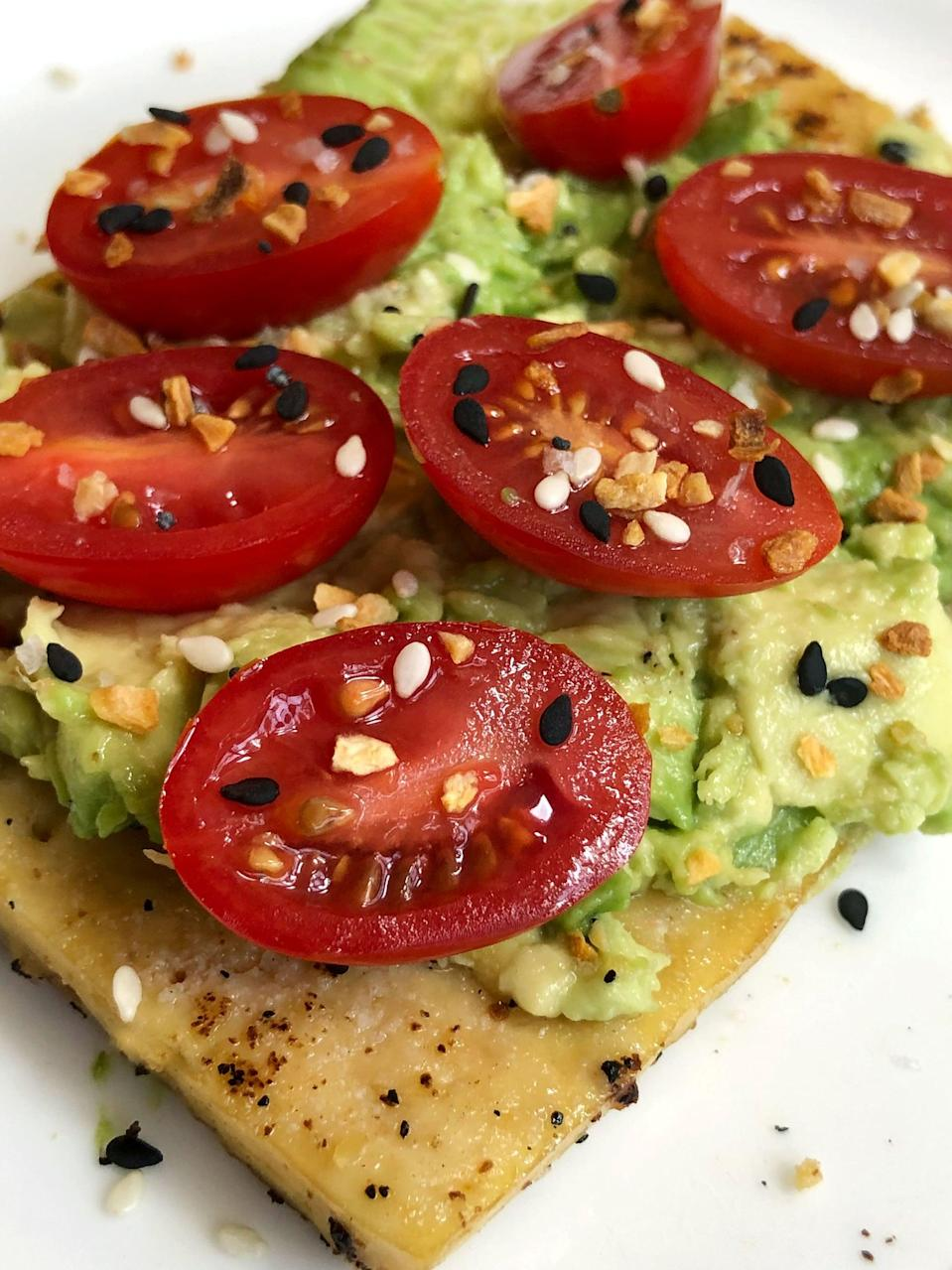 "<p>Now you can enjoy your beloved avocado toast and still follow a low-carb diet. This recipe swaps traditional bread with superfirm tofu.</p> <p><strong>Calories:</strong> 362 (for two slices)<br> <strong>Protein:</strong> 25 grams</p> <p><strong>Get the recipe:</strong> <a href=""https://www.popsugar.com/fitness/Low-Carb-Tofu-Avocado-Toast-46112248"" class=""link rapid-noclick-resp"" rel=""nofollow noopener"" target=""_blank"" data-ylk=""slk:tofu avocado &quot;toast&quot;"">tofu avocado ""toast""</a></p>"
