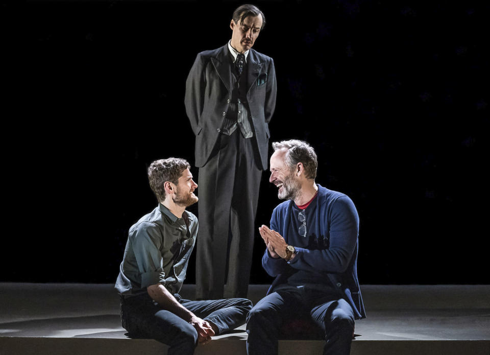 """This image released by Polk & Co. shows Kyle Soller, from left, Paul Hilton, and John Benjamin Hickey in """"The Inheritance."""" (Matthew Murphy/Polk & Co. via AP)"""