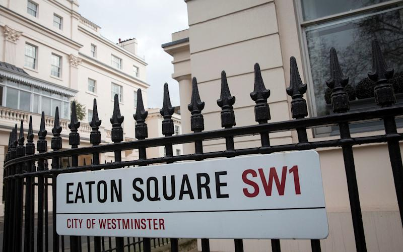 Eaton Square is the most expensive street in the UK, according to Lloyds Bank, with an average house price of £16,944,000 - Simon Dawson/Bloomberg