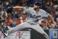 Los Angeles Dodgers starting pitcher Clayton Kershaw delivers during the third inning of a baseball game against the Houston Astros, Tuesday, May 25, 2021, in Houston. (AP Photo/Eric Christian Smith)