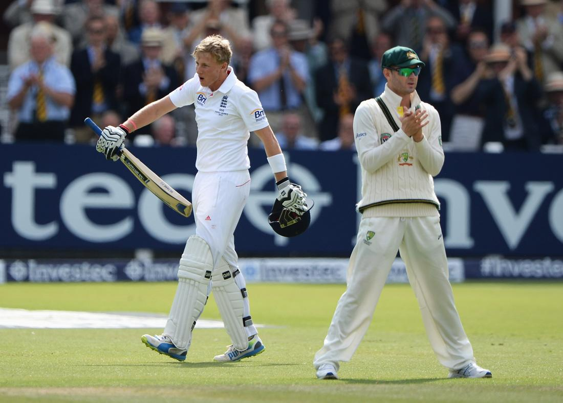 LONDON, ENGLAND - JULY 20:  Joe Root of England celebrates his century as Michael Clarke of Australia applauds during day three of the 2nd Investec Ashes Test match between England and Australia at Lord's Cricket Ground on July 20, 2013 in London, England.  (Photo by Gareth Copley/Getty Images)