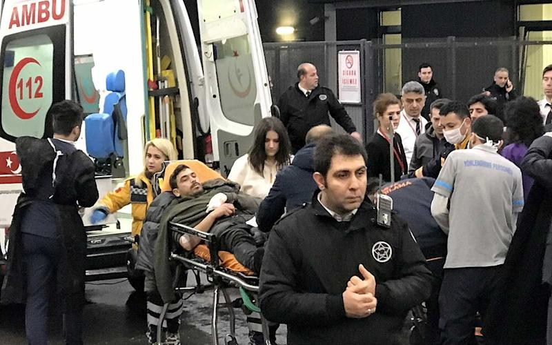 Wounded people are being carried to Kartal Training and Research Hospital after a passenger plane skidded off the runway in Istanbul Sabiha Gokcen International Airport, on February 05, 2020 in Istanbul, Turkey.   Anadolu Agency/Getty Images