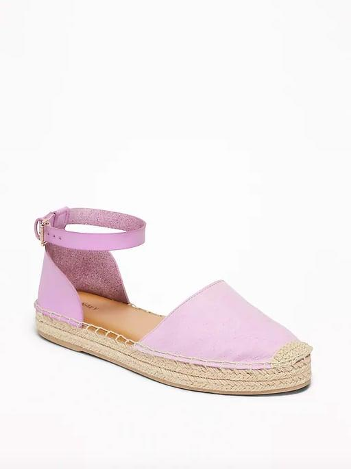 "<p>Lilac just might be the new millennial pink, so you definitely need these <a href=""https://www.popsugar.com/buy/pastel-espadrilles-476384?p_name=pastel%20espadrilles&retailer=oldnavy.gap.com&pid=476384&price=27&evar1=fab%3Auk&evar9=46463448&evar98=https%3A%2F%2Fwww.popsugar.com%2Ffashion%2Fphoto-gallery%2F46463448%2Fimage%2F46463460%2FFaux-Suede-Ankle-Strap-Espadrilles&prop13=api&pdata=1"" rel=""nofollow"" data-shoppable-link=""1"" target=""_blank"" class=""ga-track"" data-ga-category=""Related"" data-ga-label=""http://oldnavy.gap.com/browse/product.do?pid=391384032&amp;cid=1128419&amp;pcid=55147&amp;grid=pds_82_272_1#pdp-page-content"" data-ga-action=""In-Line Links"">pastel espadrilles</a> ($27) in your closet.</p>"