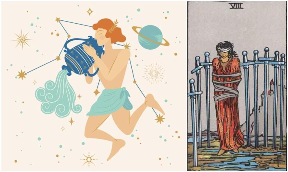 Aquarius star sign, at left and Eight of Swords card, at right. Photos: Mixkit, Wikimedia Commons