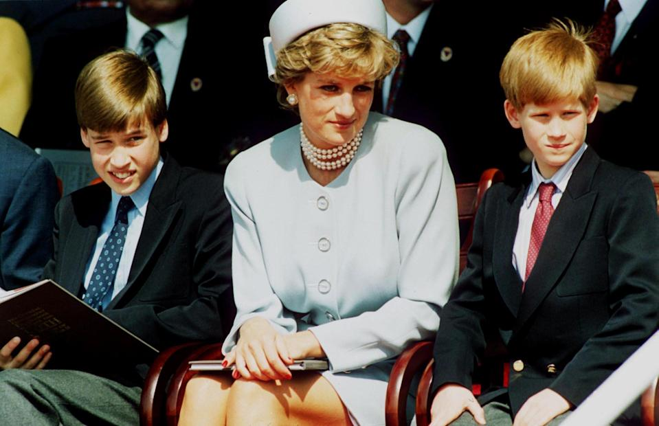 William and Harry with Diana in 1995. The princes have blasted the BBC over the interviewGetty Images