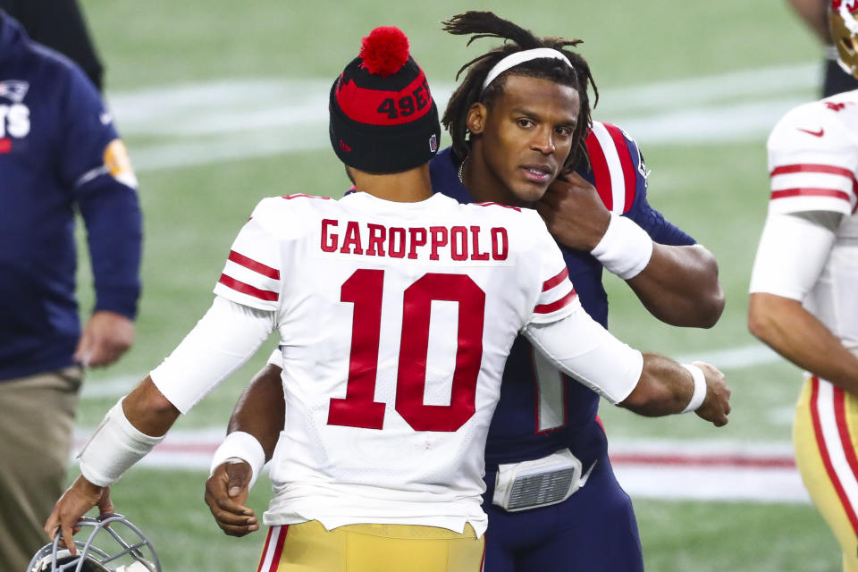 Whether or not the Patriots, who re-signed Cam Newton on Friday, would like to bring back Jimmy Garoppolo, sources indicate they can't at the moment. (Photo by Adam Glanzman/Getty Images)