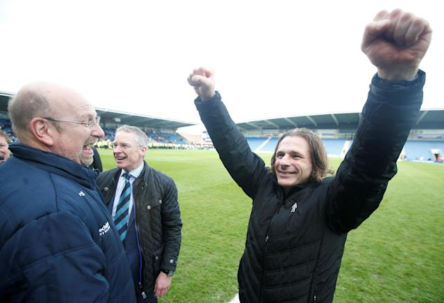 "Soccer Football - League Two - Chesterfield v Wycombe Wanderers - Proact Stadium, Chesterfield, Britain - April 28, 2018 Wycombe Wanderers Manager Gareth Ainsworth celebrates with chairman Trevor Stroud (L) after winning promotion Action Images/Paul Childs EDITORIAL USE ONLY. No use with unauthorized audio, video, data, fixture lists, club/league logos or ""live"" services. Online in-match use limited to 75 images, no video emulation. No use in betting, games or single club/league/player publications. Please contact your account representative for further details."