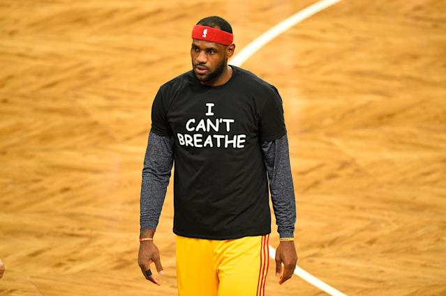 LeBron James wears a T-shirt to honor Eric Garner during warmups before a game on Dec. 8, 2014. (Photo by Rich Kane/Icon Sportswire/Corbis/Icon Sportswire via Getty Images)