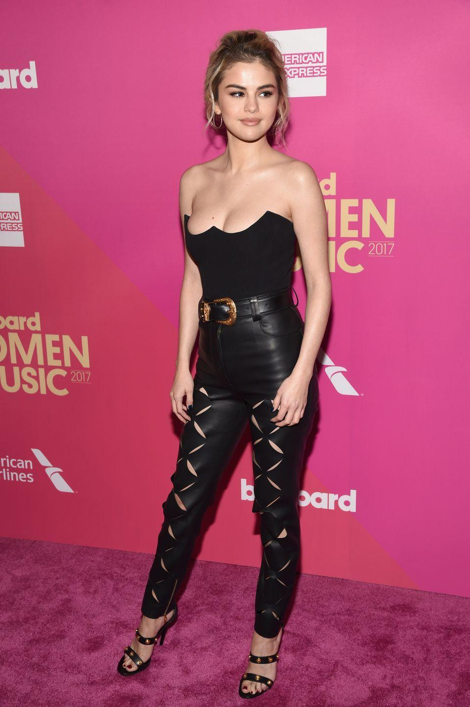<p>Selena Gomez wore Versace to be honoured as Woman of the Year at Billboard's Women In Music, Los Angeles, November 2017.</p>