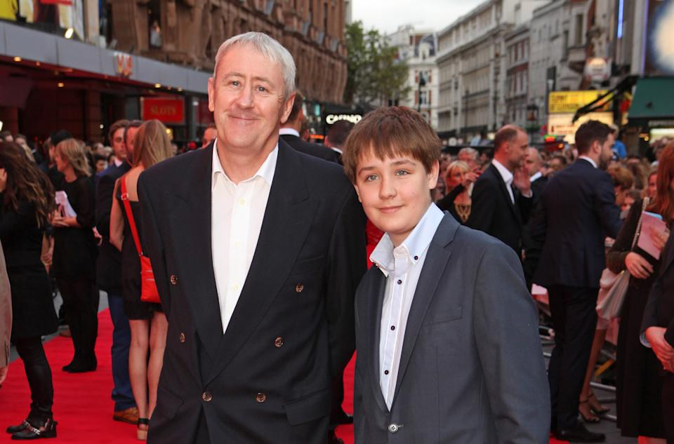 "Nicholas Lyndhurst (L) and Archie Bijorn Lyndhurst attend the World Premiere of ""The Bad Education Movie"" at Vue West End on August 20, 2015 in London, England.  (Photo by David M. Benett/Dave Benett/WireImage)"