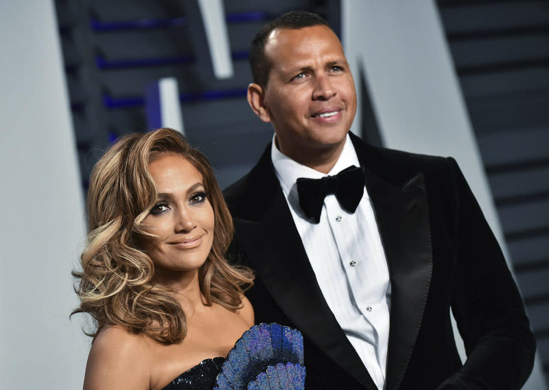 Jennifer Lopez and Alex Rodriguez at the 2019 Vanity Fair Oscary Party in Los Angeles, CA.