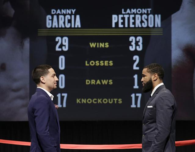 Danny Garcia, left, and Lamont Peterson say they are ready to put on a show Saturday night. (AP)