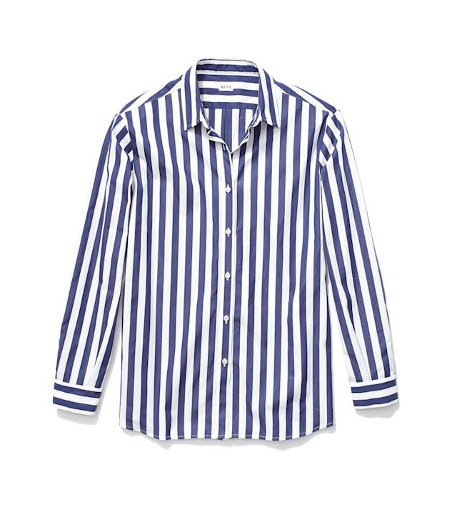 "<p>The Hutton Oversize Shirt in White/Navy, $238, <a href=""https://www.kule.com/collections/shirts/products/the-hutton"" rel=""nofollow noopener"" target=""_blank"" data-ylk=""slk:kule.com"" class=""link rapid-noclick-resp"">kule.com</a> </p>"