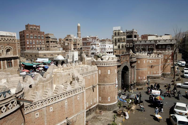 People shop at the old market in the historic city of Sanaa, Yemen