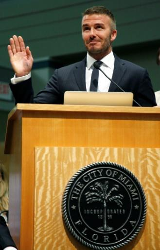 English retired professional footballer David Beckham speaks during a City of Miami Commissioners meeting, on July 12, 2018