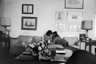 <p>Joan Didion sits on a couch with her daughter, Quintana Roo Dunne, at their home in Malibu, California in 1976.</p>