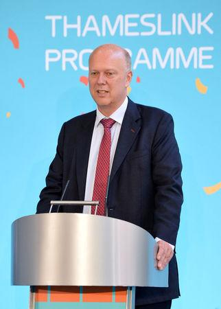 Britain's Transport Secretary Chris Grayling speaks at the re-opening of London Bridge Station after extensive redevelopment, in London