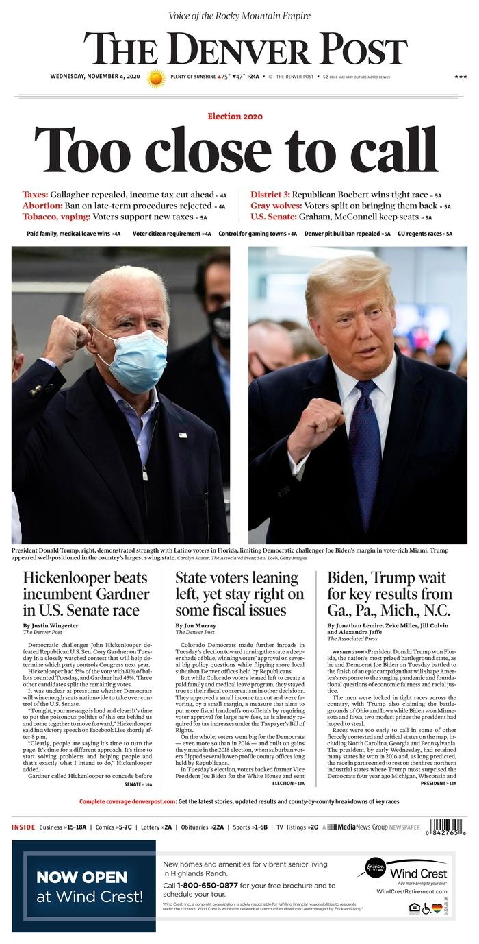 "THE DENVER POST, Published in Denver, Colo. USA (Courtesy <a href=""https://www.newseum.org/todaysfrontpages/"" rel=""nofollow noopener"" target=""_blank"" data-ylk=""slk:Newseum"" class=""link rapid-noclick-resp"">Newseum</a>)"