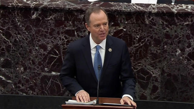 Rep. Adam Schiff speaking on Thursday during President Trump's impeachment trial. (Screengrab: Senate TV via Yahoo News)