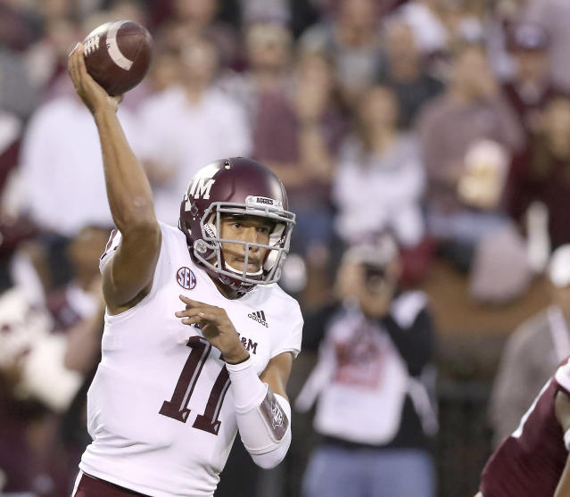 Texas A&M quarterback Kellen Mond (11) throws a pass during the first half of their NCAA college football game against Mississippi State on Saturday, Oct. 27, 2018, in Starkville, Miss. (AP Photo/Jim Lytle)