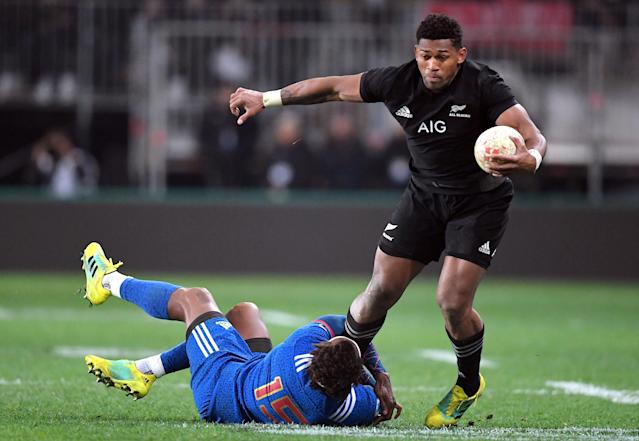 Rugby Union - June Internationals - New Zealand vs France - Forsyth Barr Stadium, Dunedin, New Zealand - June 23, 2018 - Waisake Naholo of New Zealand avoids being tackled by Benjamin Fall of France. REUTERS/Ross Setford
