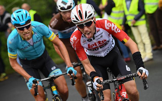 Bjorg Lambrecht crashed in the final 100km of stage three - AFP