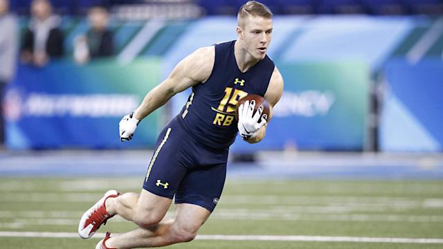 Christian McCaffrey is a first-round running back prospect, and he might even be the second RB drafted next month. Here are the five teams that might select him.