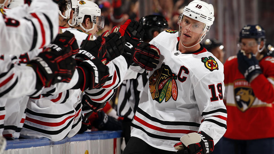 Jonathan Toews looks to win his fourth Stanley Cup this summer. (Eliot J. Schechter/NHLI via Getty Images)