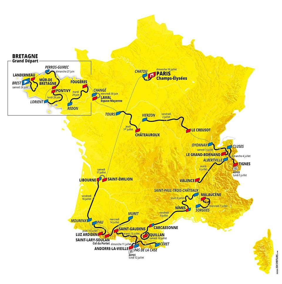 """<p>The<a href=""""https://www.letour.fr/en/overall-route"""" rel=""""nofollow noopener"""" target=""""_blank"""" data-ylk=""""slk:2021 Tour de France"""" class=""""link rapid-noclick-resp""""> 2021 Tour de France</a> begins on June 26 with a route that is just over 2,100 miles. Here's a quick look at every stage this year, and here are the stages you <a href=""""https://www.bicycling.com/tour-de-france/a36813410/tour-de-france-best-stages-2021/"""" rel=""""nofollow noopener"""" target=""""_blank"""" data-ylk=""""slk:simply won't want to miss"""" class=""""link rapid-noclick-resp"""">simply won't want to miss</a>.</p>"""