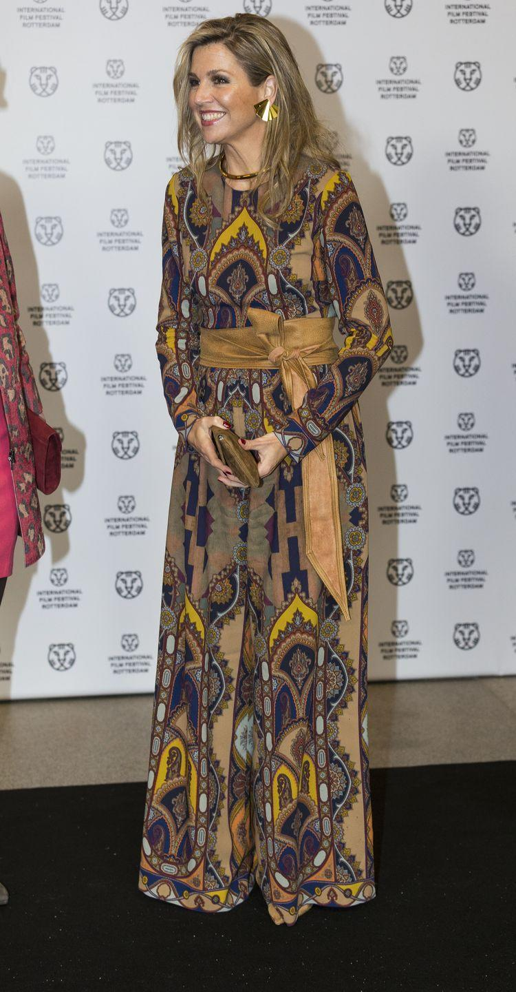 <p>Her Majesty, The Queen of the Netherlands, otherwise known as Queen Maxima, grew up in Buenos Aires before meeting the would-be King Willem-Alexander at an event in Spain. She's pictured here wearing a bohemian-printed Etro jumpsuit. </p>