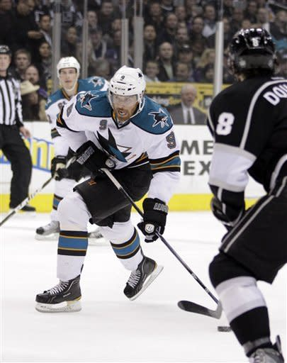 San Jose Sharks right wing Martin Havlat, of Czech Republic, looks to shoot to score during the first period of an NHL hockey game against the Los Angeles Kings in Los Angeles, Tuesday, March 20, 2012. (AP Photo/Jae C. Hong)