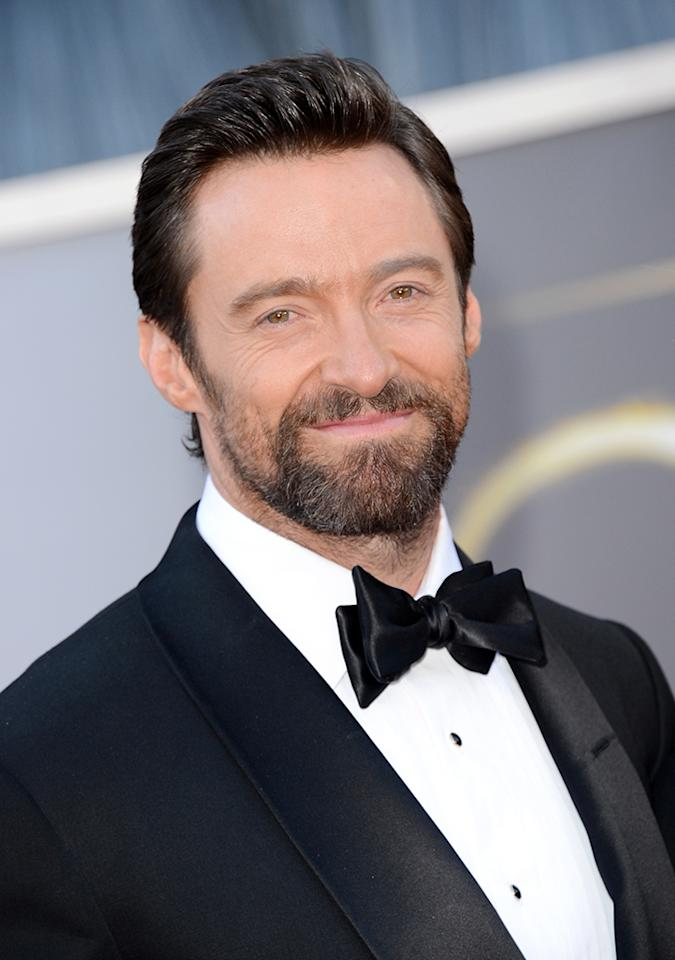 Hugh Jackman arrives at the Oscars in Hollywood, California, on February 24, 2013.