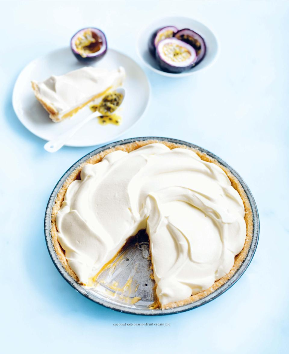 "Can't find store-bought passionfruit curd for this brightly flavored pie? It's not so difficult to <a href=""https://www.epicurious.com/expert-advice/lemon-curd-other-fruit-method-article?mbid=synd_yahoo_rss"" rel=""nofollow noopener"" target=""_blank"" data-ylk=""slk:make your own"" class=""link rapid-noclick-resp"">make your own</a> from scratch. <a href=""https://www.epicurious.com/recipes/food/views/coconut-and-passionfruit-cream-pie?mbid=synd_yahoo_rss"" rel=""nofollow noopener"" target=""_blank"" data-ylk=""slk:See recipe."" class=""link rapid-noclick-resp"">See recipe.</a>"