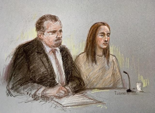 Sketch of Lucy Letby, next to her solicitor Richard Thomas