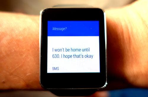 Watch displaying a text message