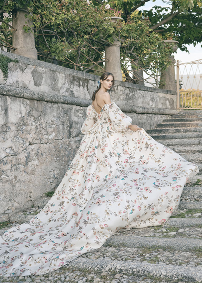 "<p>Florals for spring? Groundbreaking. </p><p>We'll never tire of speaking to fashionable florals, but when done in soft, pastel, springtime patterns, like this <a href=""https://www.harpersbazaar.com/wedding/bridal-fashion/g28763422/wedding-dress-trends-2020/"" target=""_blank"">Monique Lhuillier</a> Fall 2020 bridal gown inspired by the Tuileries gardens, it feels effortlessly fashion-forward and innovative. Face it, we're not getting over floral prints anytime soon—but we do suggest you keep your choice seasonally-focused. When it comes to a summer soiree, opt for bolder and brighter blooms. For fall or winter, choose jewel-toned florals for a moody feel.</p>"