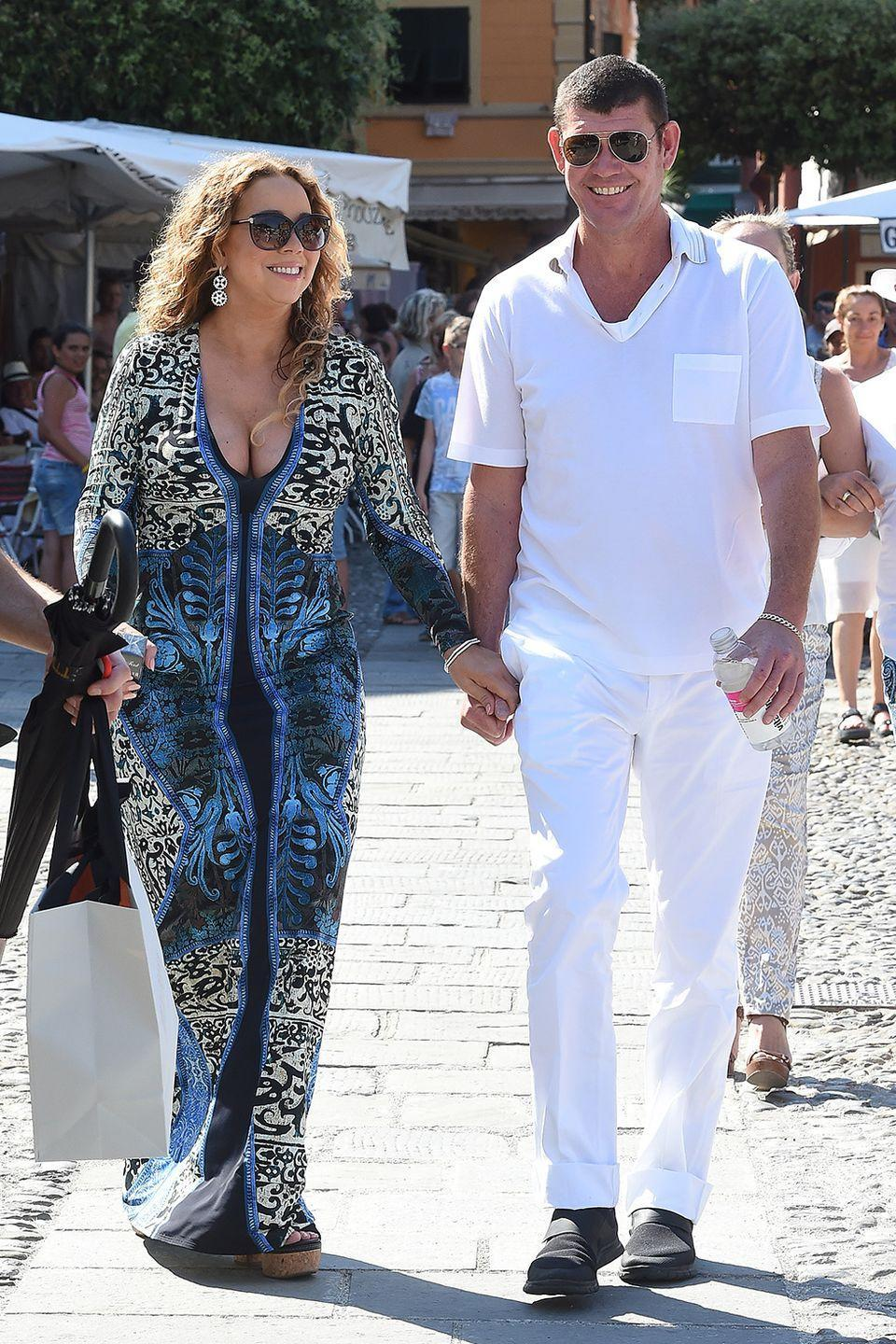 "<p>The duo became official in June 2015 and were engaged in January 2016 with a whopping 35-carat ring in New York City, according to <em><a class=""link rapid-noclick-resp"" href=""https://people.com/music/mariah-carey-james-packer-relationship-timeline-early-sizzle-final-fizzle/"" rel=""nofollow noopener"" target=""_blank"" data-ylk=""slk:People"">People</a></em>. They broke up that year after an epic blowout on vacation in Greece.</p>"