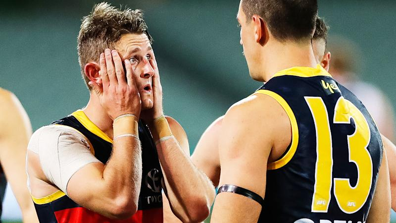 Matt Crouch, pictured here looking dejected during the Adelaide Crows' loss to Port Adelaide.