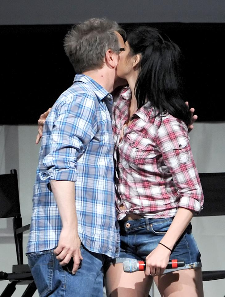 """SAN DIEGO, CA - JULY 12:  Director Rich Moore (L) and actress Sarah Silverman speak at the """"Wreck-It Ralph"""" panel during Comic-Con International 2012 at San Diego Convention Center on July 12, 2012 in San Diego, California.  (Photo by Kevin Winter/Getty Images)"""