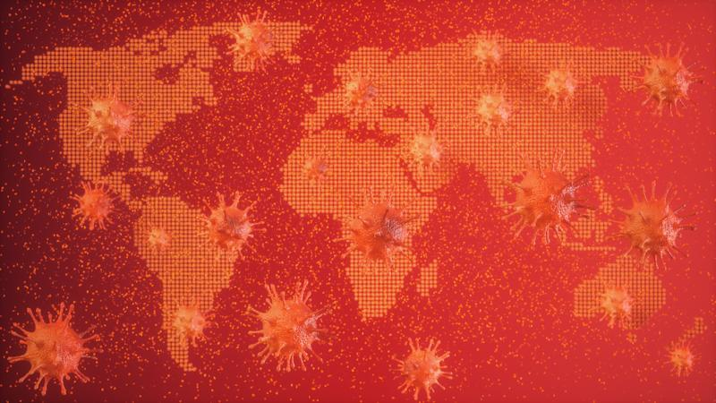 Virus Abstract with World Map Background (Photo: onurdongel via Getty Images)
