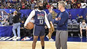 Rockets star James Harden and Warriors coach Steve Kerr