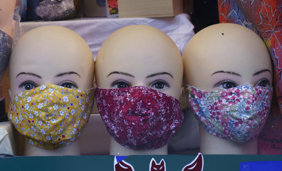 Face masks are on display in a store in Montreal, Monday, Sept. 28, 2020, during the coronavirus pandemic. (Paul Chiasson/The Canadian Press via AP)
