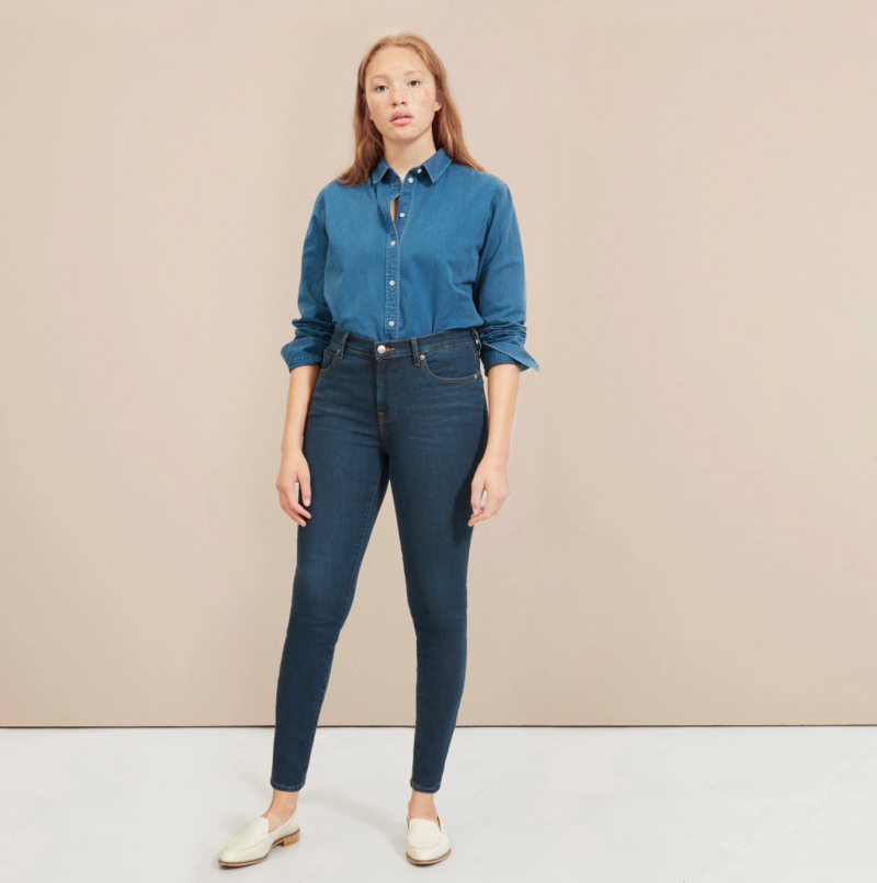 The Authentic Stretch Mid-Rise Skinny in Dark Blue Wash.