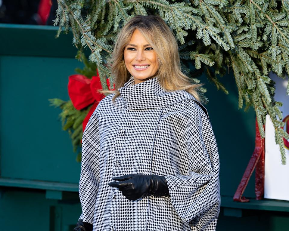 First Lady Melania Trump posing with the carriage that is delivering the White House Christmas Tree.