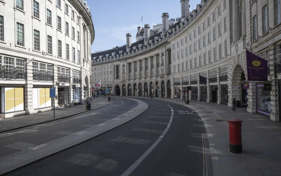 A usually busy Regent Street in the heart of London stood empty in March, at the height of the UK's lockdown, when millions of people were asked to leave home only for basic shopping, excercise and essential travel to work - Dan Kitwood/Getty Images