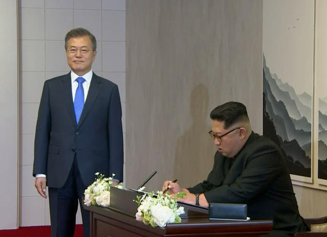 """<em>Era of peace – Kim Jong-un's guest book message referred to a """"the starting point of history and the era of peace"""" (Picture: AP)</em>"""