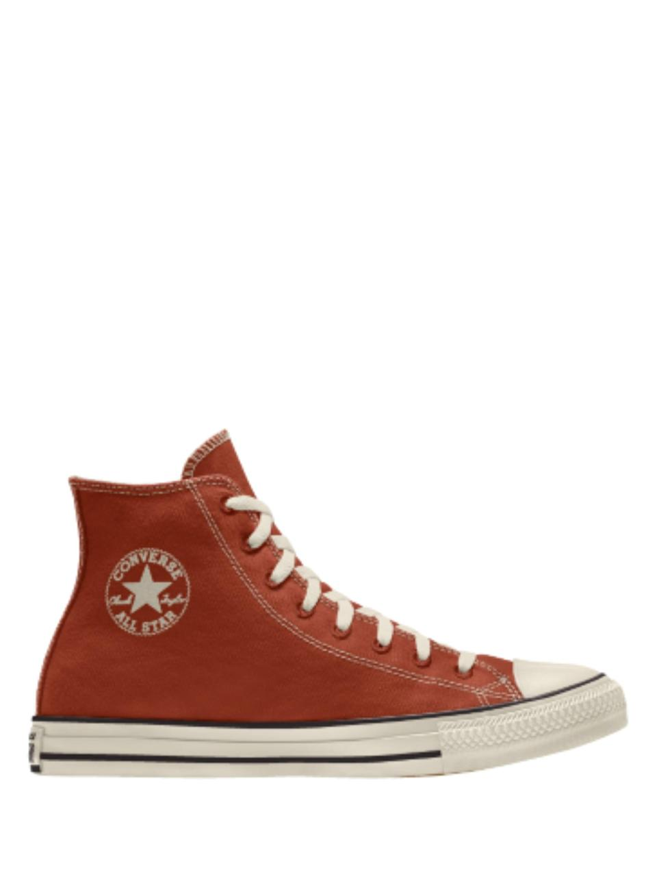 """<p>Good news: Converse now offers a recycled polyester version of its classic silhouette. As an added bonus, the <a href=""""https://www.converse.com/shop/p/custom-renew-chuck-taylor-all-star-by-you-unisex-high-top-shoe/167249CFA19.html"""" class=""""link rapid-noclick-resp"""" rel=""""nofollow noopener"""" target=""""_blank"""" data-ylk=""""slk:Converse Renew Chuck Taylor All Star By You"""">Converse Renew Chuck Taylor All Star By You</a> ($80) is customizable, too.</p>"""