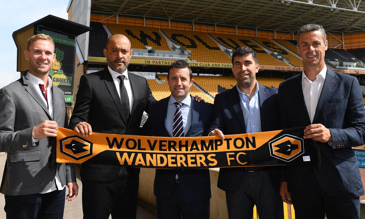 Wolves' manager Nuno Espirito Santo, second left, is a Jorge Mendes client. The club's managing director, Laurie Dalrymple, centre, said the agent's role was advisory: 'Someone, because of the friendship with the owners, that we take opinions and advice from.'