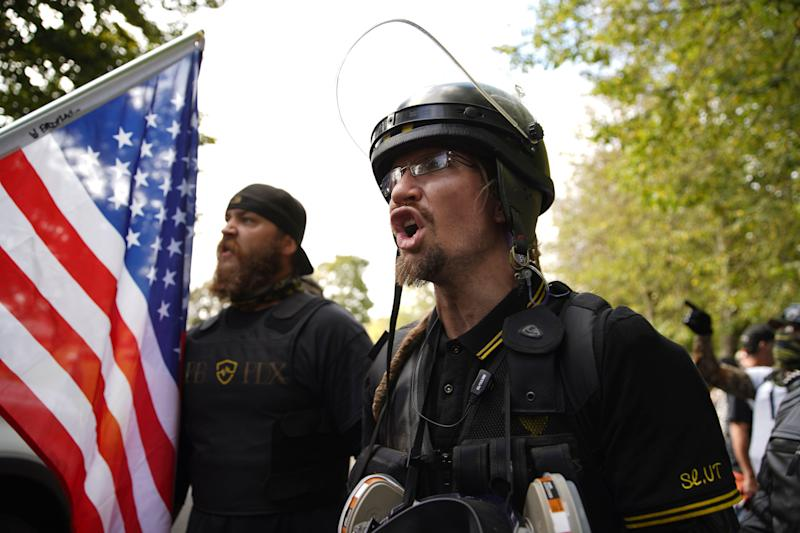 Members of the Proud Boys and other right-wing demonstrators rally on Saturday, Sept. 26, 2020, in Portland, Ore. (AP Photo/Allison Dinner) (Photo: ASSOCIATED PRESS)